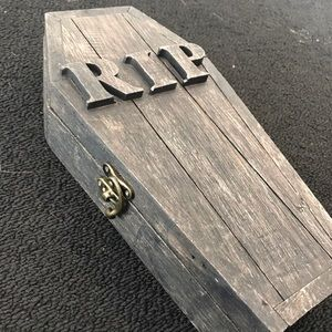 NWOT Wooden Coffin Box with Lock